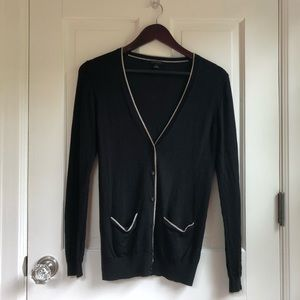 Ann Taylor Black Cardigan with Gold Trim